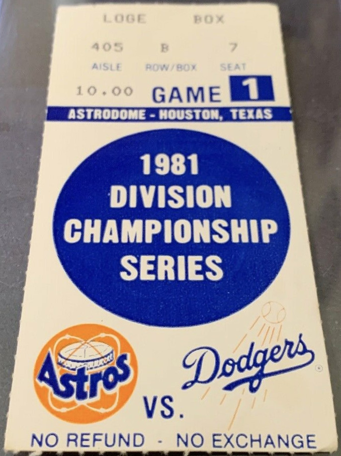 1981 NLDS Game 1 ticket stub Astros Dodgers Nolan Ryan