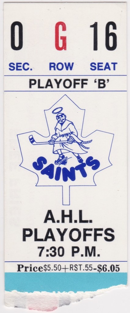 1984 St. Catharines Saints Playoffs ticket stub vs Rochester
