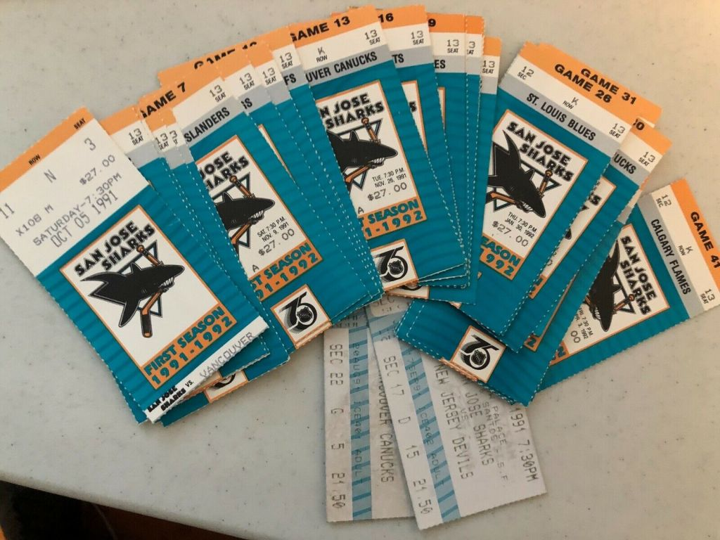 1991-92 San Jose Sharks Complete Home Game ticket stub collection