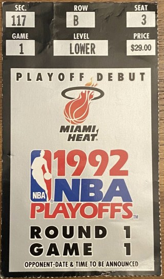 1992 NBA Playoffs ticket stub Michael Jordan 56 points 275