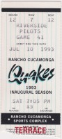 1993 Rancho Cucamonga Quakes ticket stub vs Riverside