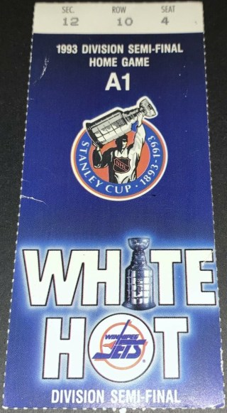1993 Stanley Cup Playoffs Game 3 ticket stub Canucks at Jets 11.50
