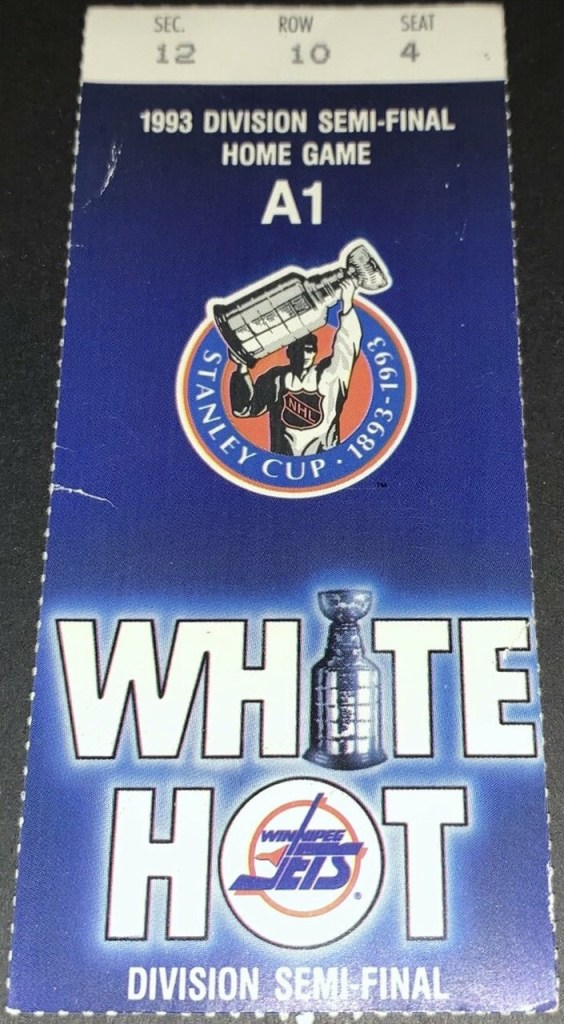 1993 Stanley Cup Playoffs Game 3 ticket stub Canucks at Jets
