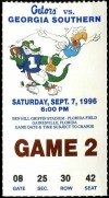 1996 NCAAF Florida Gators ticket stub vs Georgia Southern
