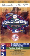 2001 World Series Game 5 ticket stub Diamondbacks Yankees