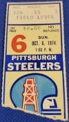 1974 Houston Oilers ticket stub vs Pittsburgh