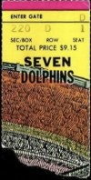 1976 Pittsburgh Steelers ticket stub vs Seven Dolphins