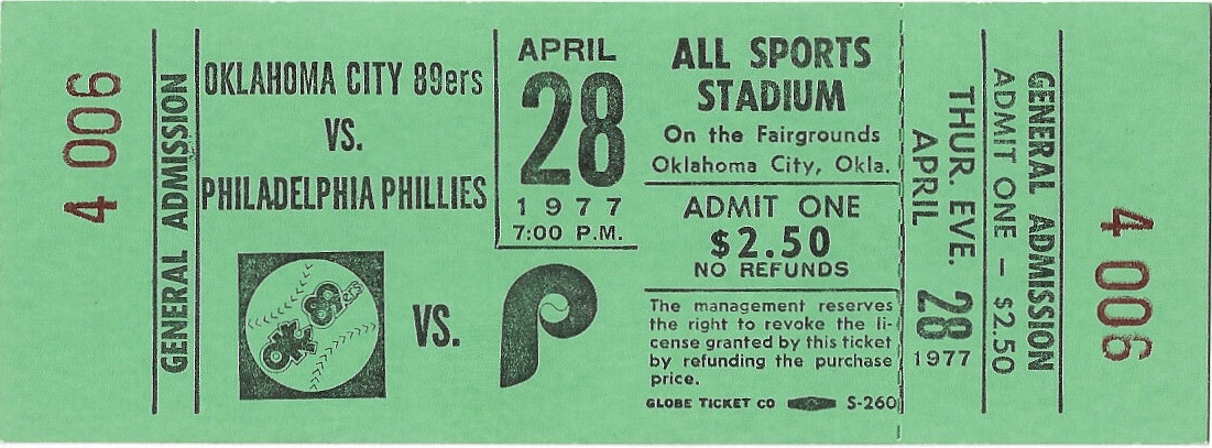 1977 Oklahoma City 89ers ticket stub vs MLB Phillies