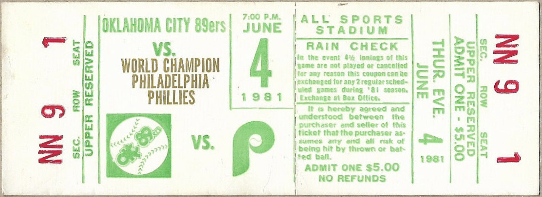 1981 Oklahoma City 89ers ticket stub vs MLB Phillies
