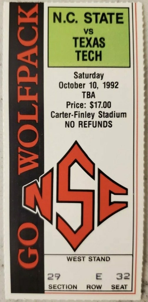 1992 NCAAF NC State Wolfpack ticket stub vs Texas Tech