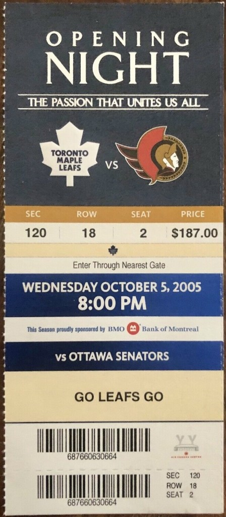 2005 Eric Lindros Leafs Debut ticket stub