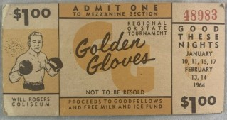 1964 Golden Gloves Boxing Ticket Fort Worth Will Rogers Coliseum 10