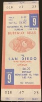 1968 Buffalo Bills ticket stub vs San Diego