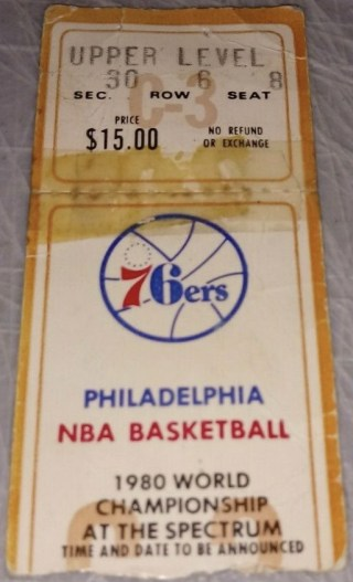 1980 NBA Finals Game 6 ticket stub Lakers 76ers 710