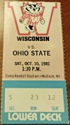 1981 NCAAF Wisconsin Badgers ticket stub vs Ohio State