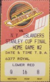 1982 Stanley Cup Game 4 ticket stub Islanders Canucks