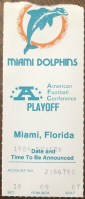 1984 AFC Divisional Game ticket stub Seahawks Dolphins