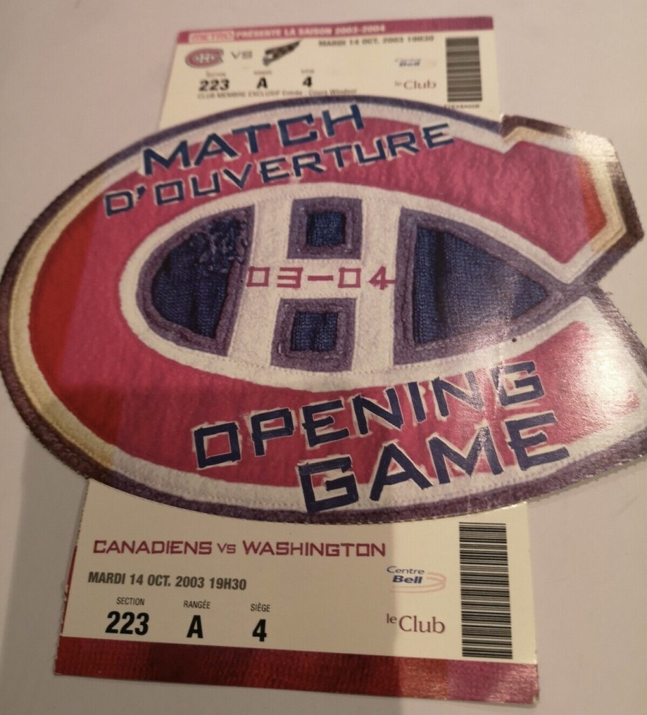 2003 Canadiens Opening Game ticket stub