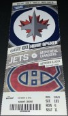 2011 Winnipeg Jets first game ticket after arriving back in Manitoba
