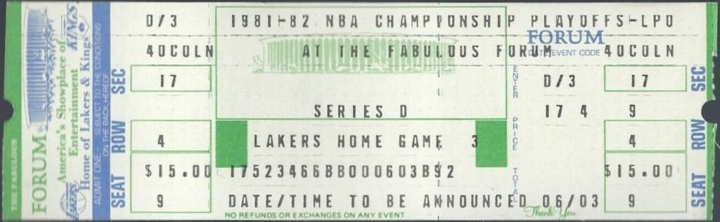 1982 NBA Finals Game 6 ticket stub 76ers Lakers
