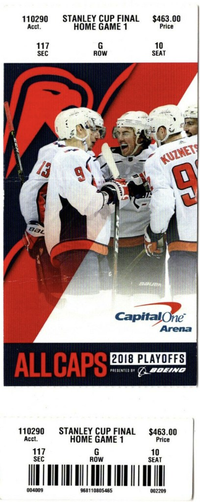2018 Stanley Cup Final Game 1 ticket stub Golden Knights Capitals