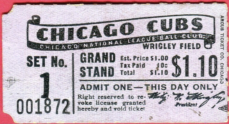 1930s Chicago Cubs Opening Day ticket stub