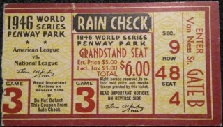 1946 World Series Game 3 ticket stub Cardinals Red Sox 200