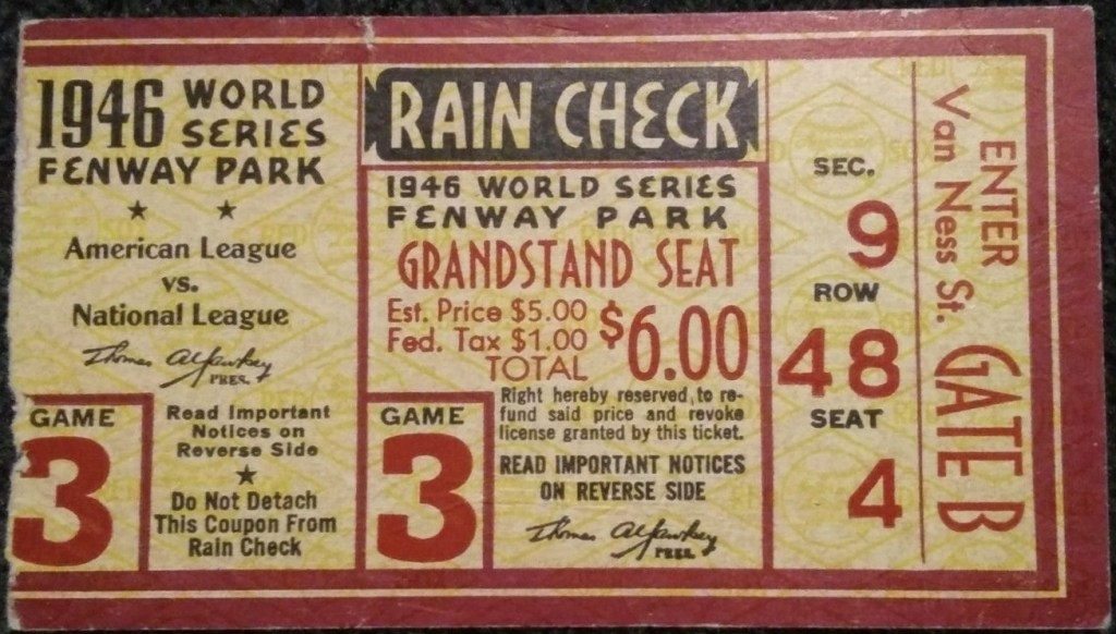 1946 World Series Game 3 ticket stub Cardinals Red Sox