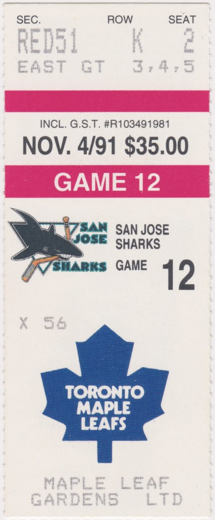 1991 Toronto Maple Leafs ticket stub vs San Jose Sharks