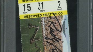 Rudy Game Signed Ticket Stub Auction Closes at 10K