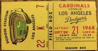 1968 Ted Simmons MLB Debut Ticket Stub 2170