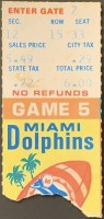 1972 Miami Dolphins Ticket Stub Game 5 vs Chargers