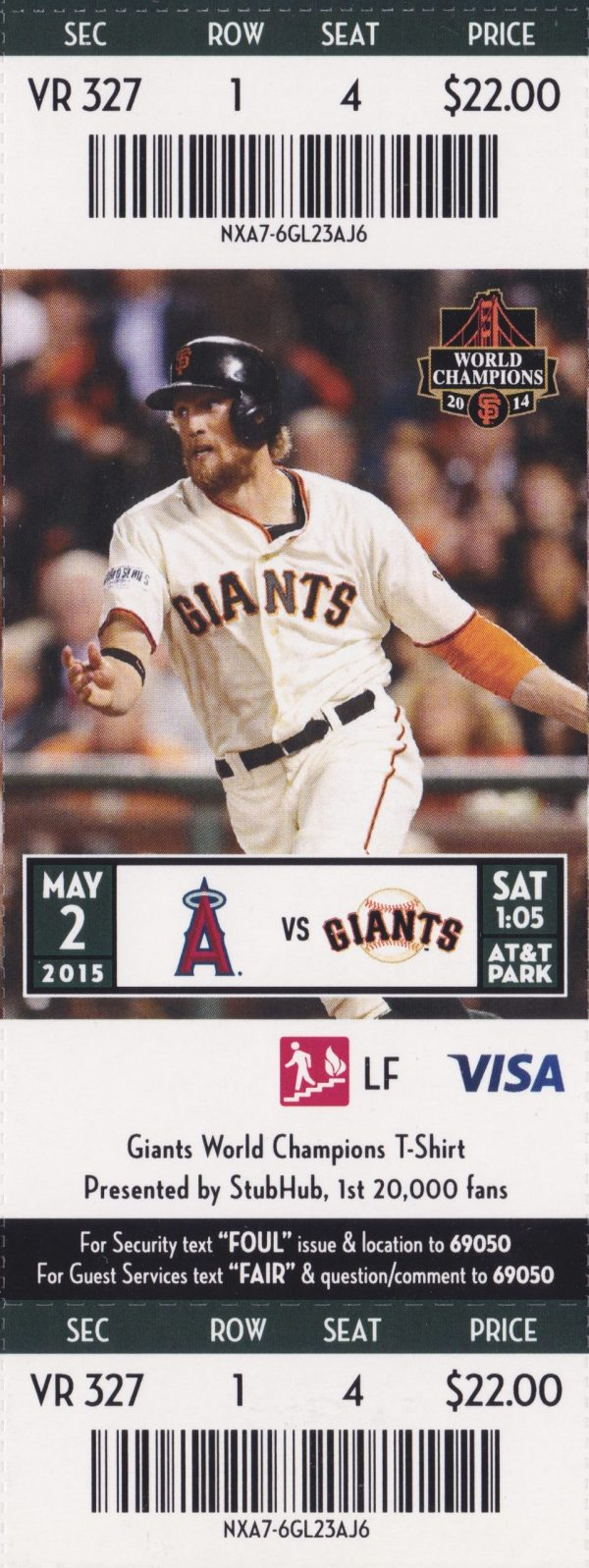 2015 Giants Full Ticket vs Angels May 2 Trout Pujols Posey