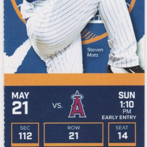 2017 Mets Full Ticket vs Angels May 21 Mike Trout