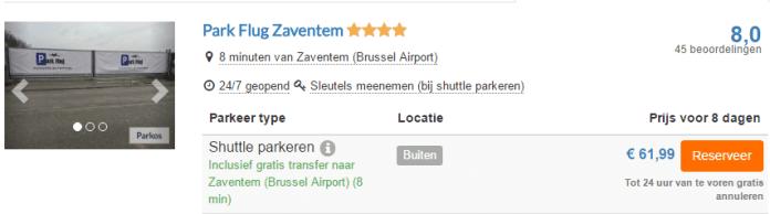Voorbeeld parkeren Brussel Zaventem