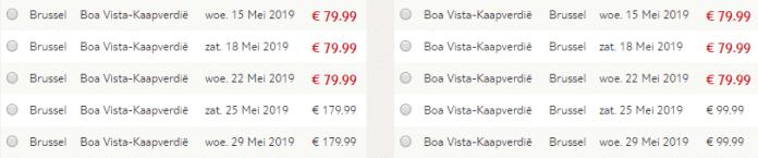 Voorbeeld prijzen Boa Vista vanaf Brussel