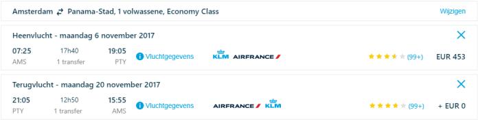 Voorbeeldboeking Panama KLM