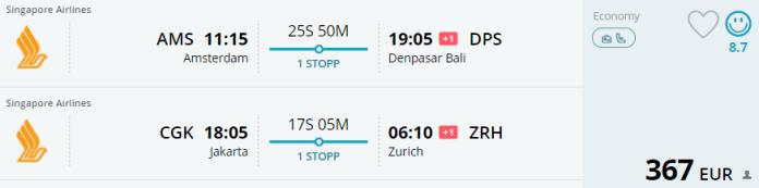 Voorbeeldboeking AMS - Bali & Jakarta - Zurich 12 mei - 3 juni