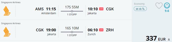 Voorbeeldboeking AMS - Jakarta - Zurich 4 - 26 juni