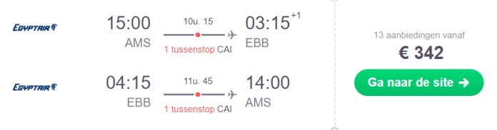 Voorbeeldboeking Entebbe 22 november - 7 december