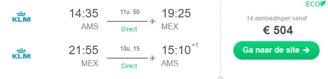 Voorbeeldboeking Mexico-stad 27 februari - 10 maart KLM