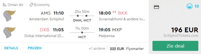 Voorbeeld Amsterdam - Bangkok & Dubai - Milaan