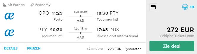Voorbeeldboeking Porto - PTY - Dusseldorf 6 - 21 mei
