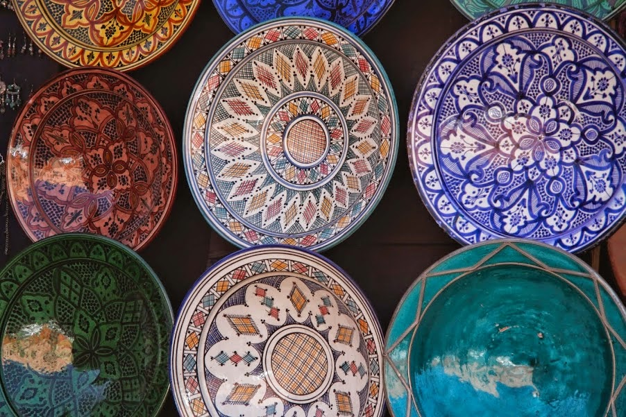 Marrakech: Moroccan pottery for sale in the souq
