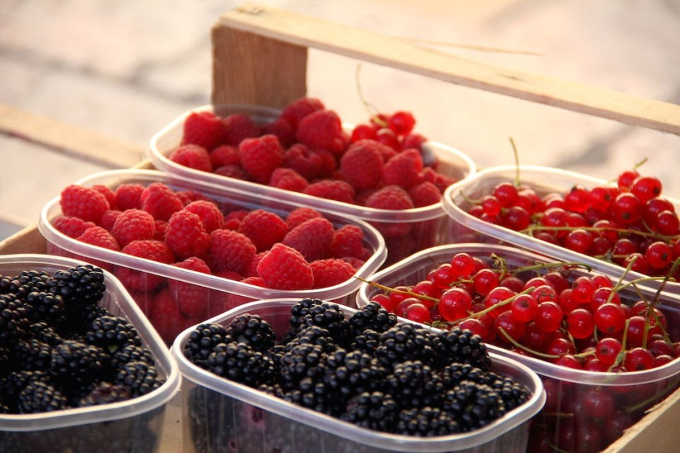 Fresh berries in the morning market