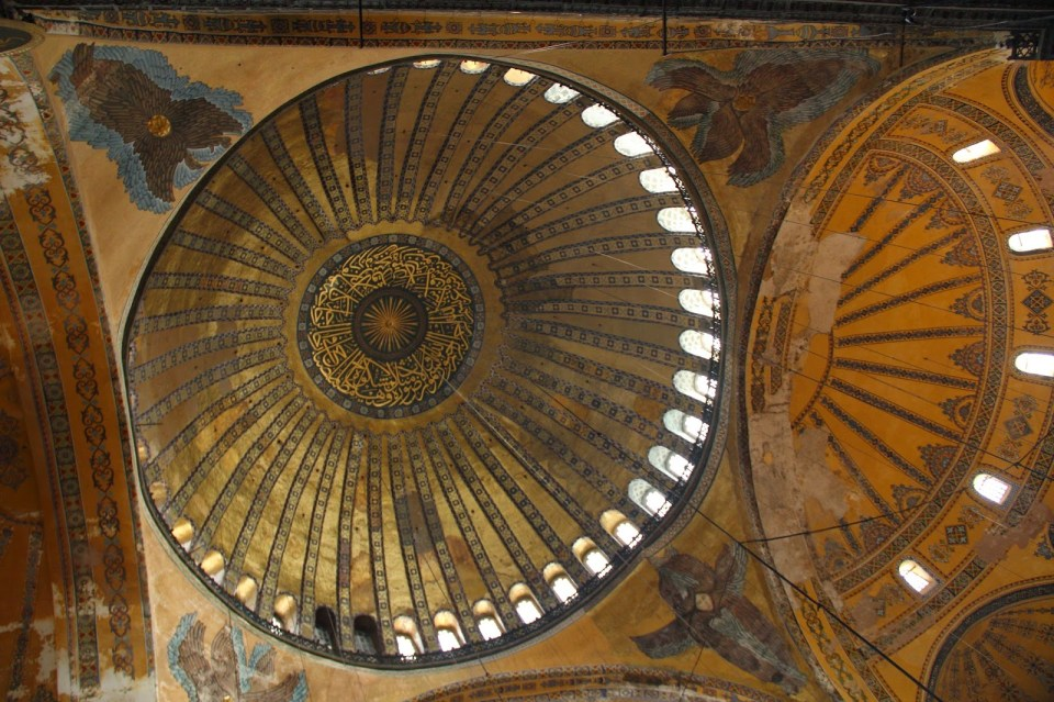Hagia Sophia - dome and windows...note the angels at the corners