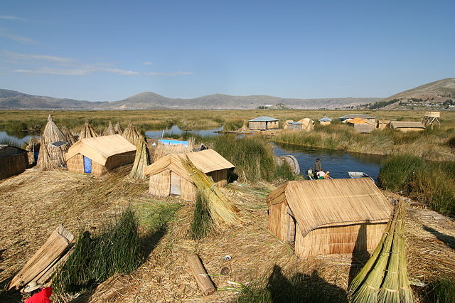 Uros floating village at Lake Titicaca (Pic courtesy: Cmunozjugo - Emre Safak, - Wikipedia)