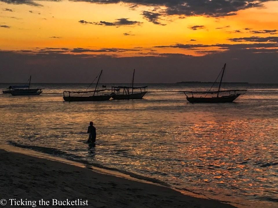 Sea side at sunset near Forodhani Gardens