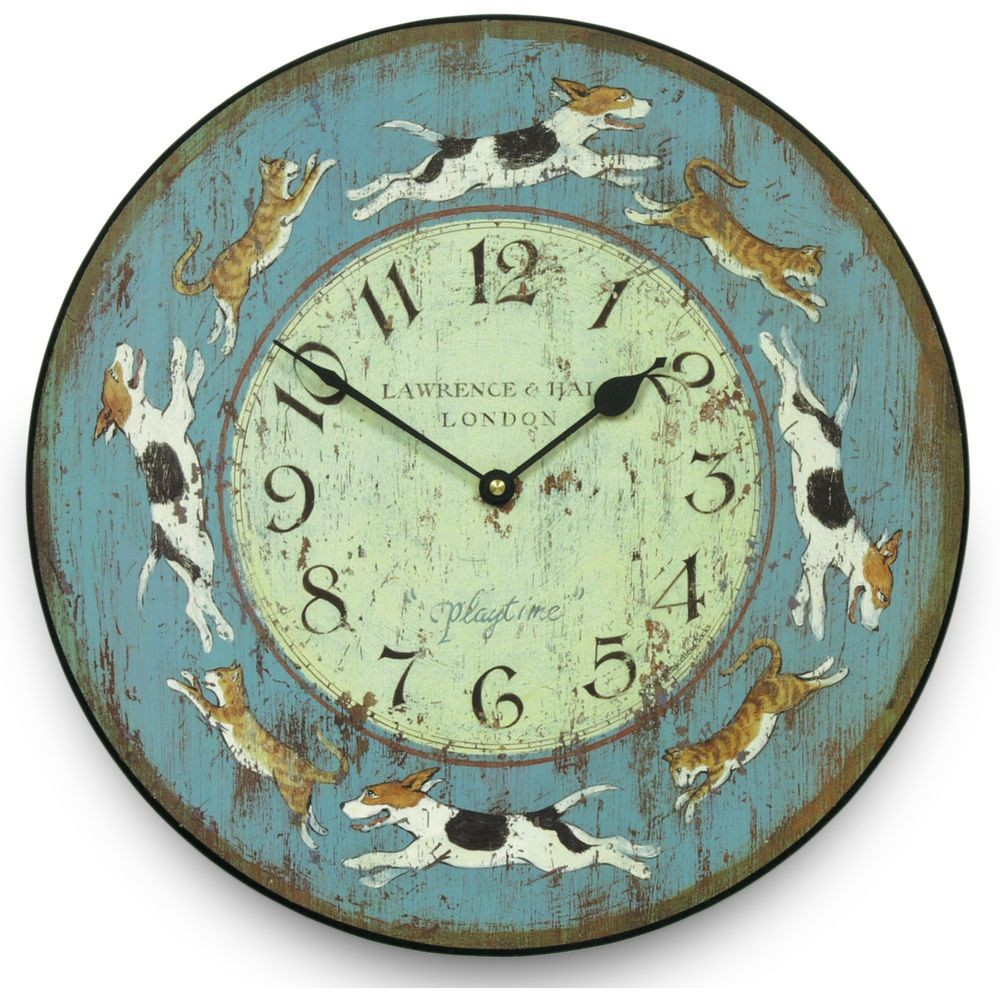 Cats  Dogs Wall Clock 36cm