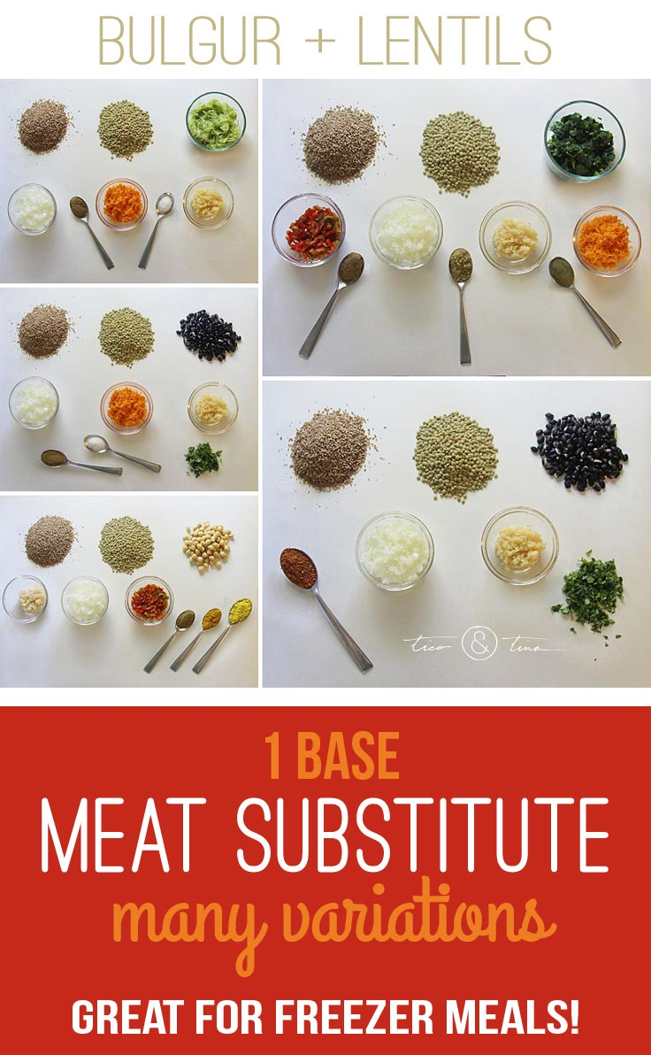 vegan-meat-substitutes A bulgur/lentil mix that makes a VERY inexpensive and versatile vegan meat substitute (no eggs!) for lots of healthy recipes. It is also excellent for freezer meals! | healthy recipe | fall recipe